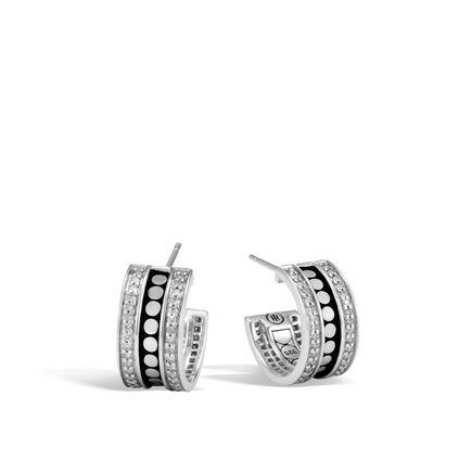 Dot Hoop Earring in Silver with Diamonds
