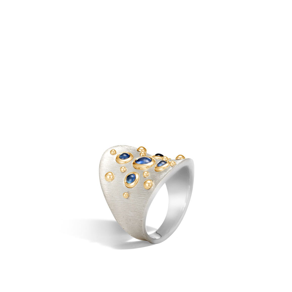 Dot Saddle Ring in Brushed Silver and 18K Gold, Gemstone