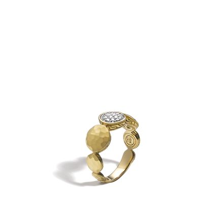 Dot 8MM Band Ring in Hammered 18K Gold with Diamonds