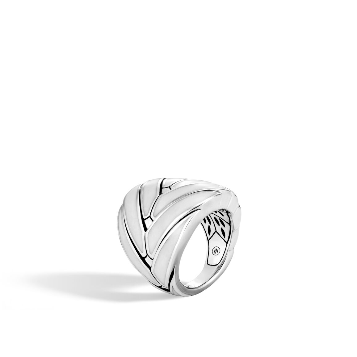 Modern Chain 24MM Ring in Silver with Enamel