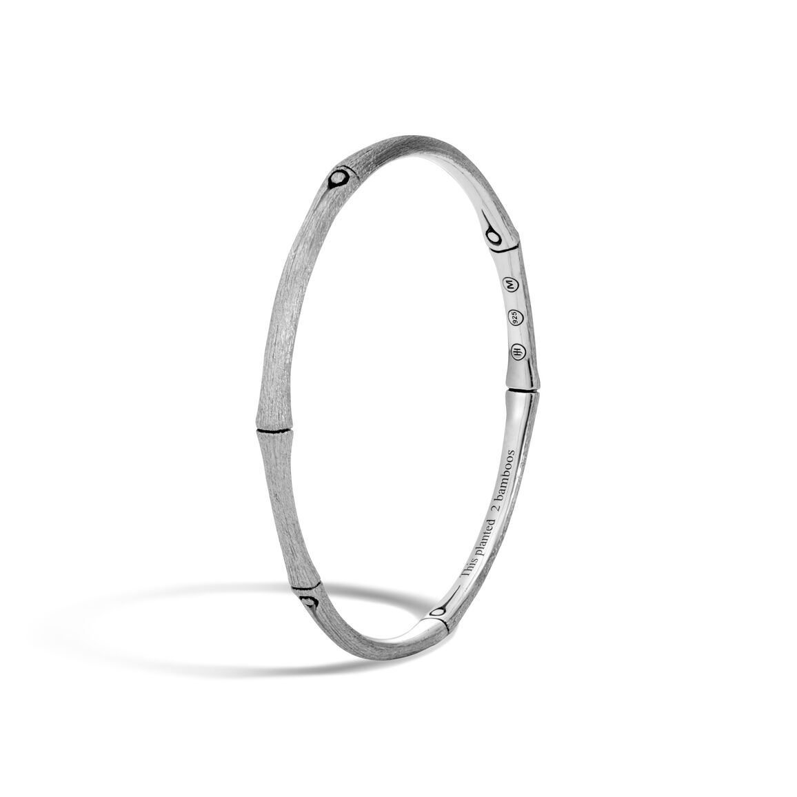 Bamboo 4MM Bangle in Brushed Silver