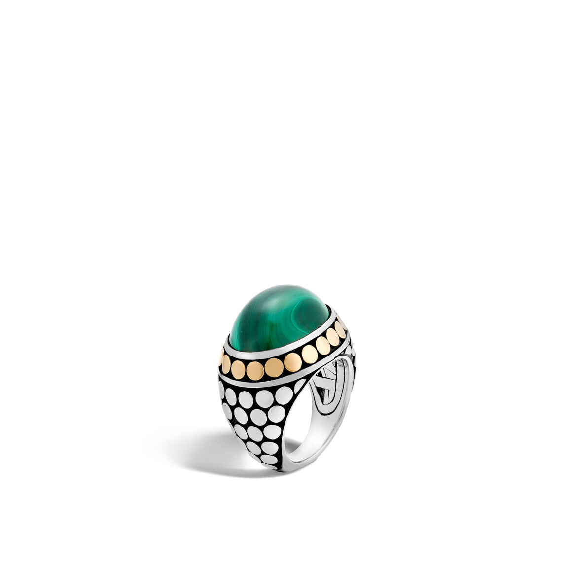Dot Dome Ring, Silver and 18K Gold, 20x15MM Gemstone