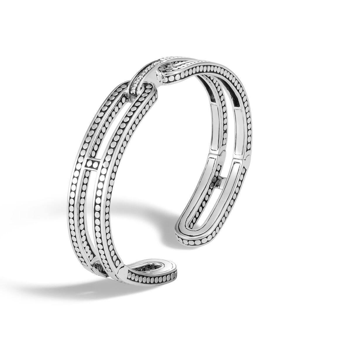 Dot 9.5MM Kick Cuff in Silver with Diamonds