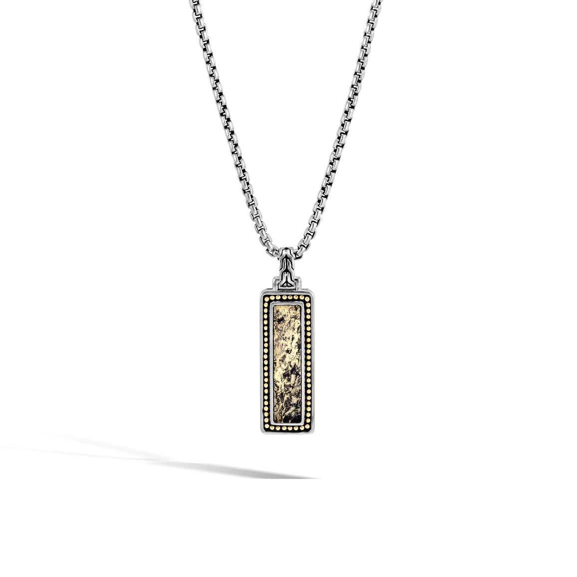 Chain Jawan Dog Tag Pendant in Silver and 18K Gold, Gemstone