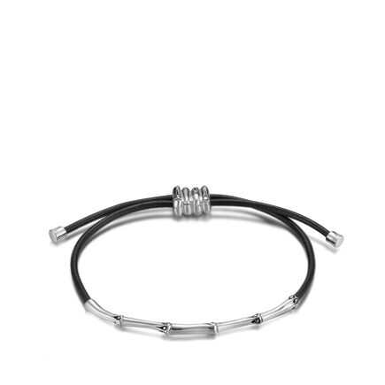 Bamboo 2MM Pull Through Bracelet in Silver and Leather