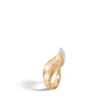 Classic Chain Wave Ring, Hammered 18K Gold and Diamonds
