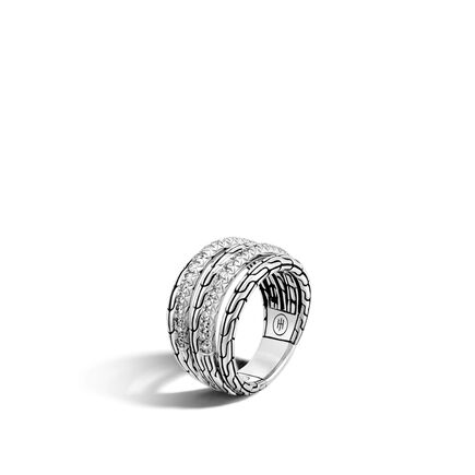 Classic Chain Ring in Silver with Diamonds