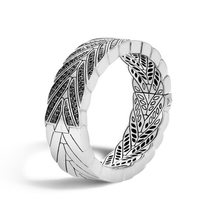 Modern Chain 17.5MM Hinged Bangle in Silver with Gemstone