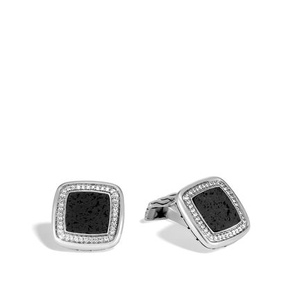 Classic Chain Cufflinks with Gemstone and Diamonds