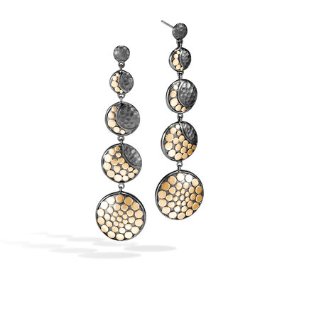 Dot Moon Phase Drop Earring, Blackened Hammered Silver, 18K