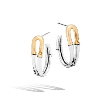 Bamboo Small Hoop Earring in Silver and 18K Gold