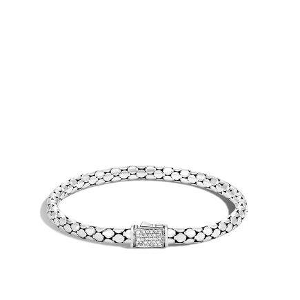 Dot 4.5MM Bracelet in Silver with Diamonds