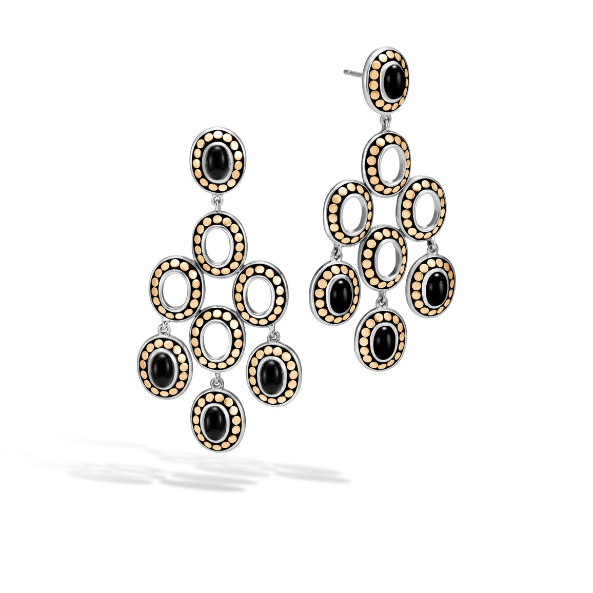 Dot Chandelier Earring, Silver and 18K Gold, 6x4MM Gemstone