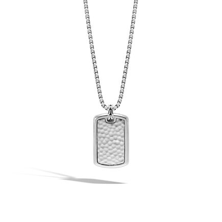 Classic Chain Large Dog Tag Necklace in Hammered Silver