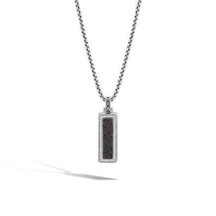 Classic Chain Dog Tag Pendant, Silver, Gemstone, Diamonds