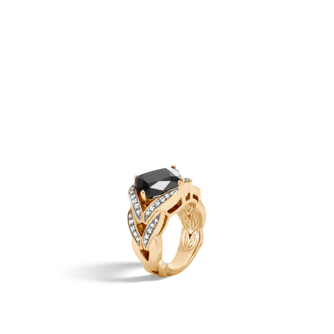 Modern Chain Magic Cut Ring, 18K Gold with Gemstone, Dia