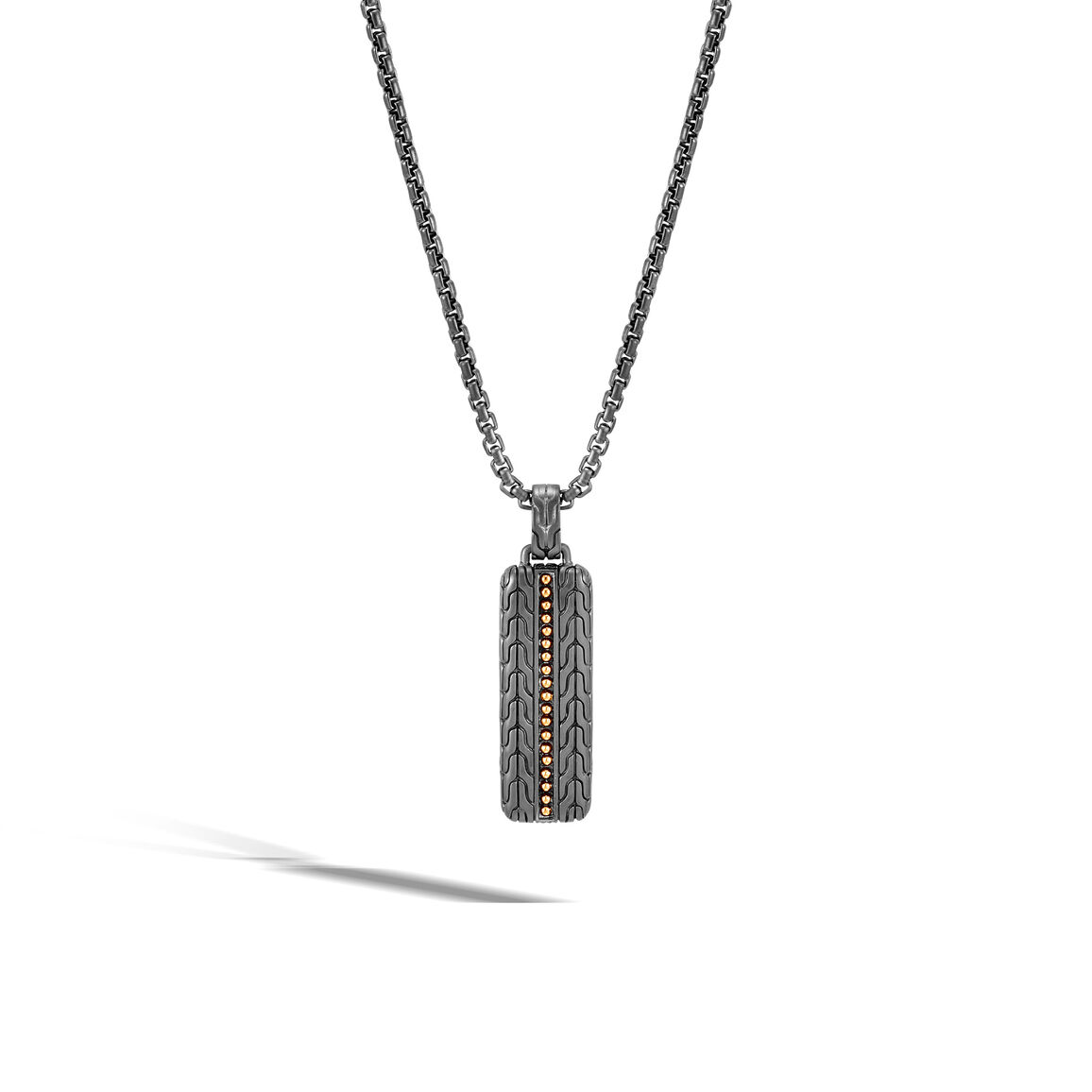Chain Jawan Pendant Necklace in Blackened Silver, 18K Gold