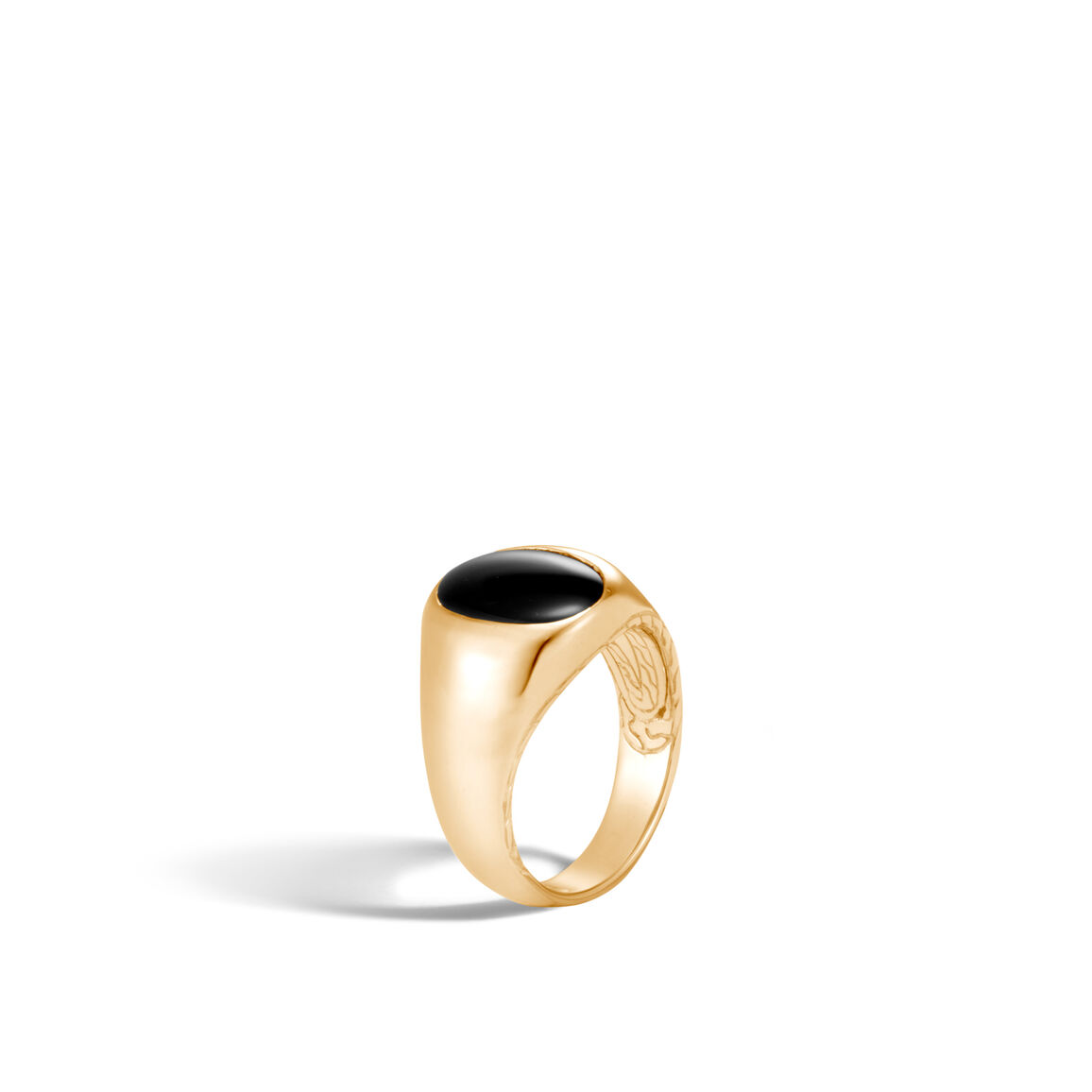 Classic Chain Oval Signet Ring in 18K Gold with Gemstone