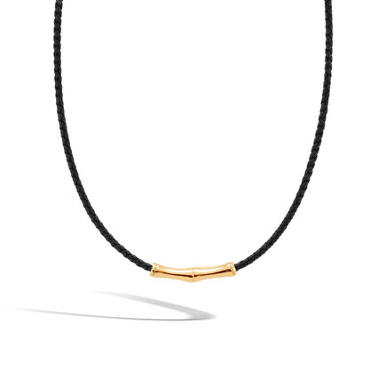 Bamboo Barrel Necklace in 18K Gold and Leather