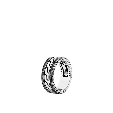 Classic Chain 9MM Band Ring in Silver with Gemstone