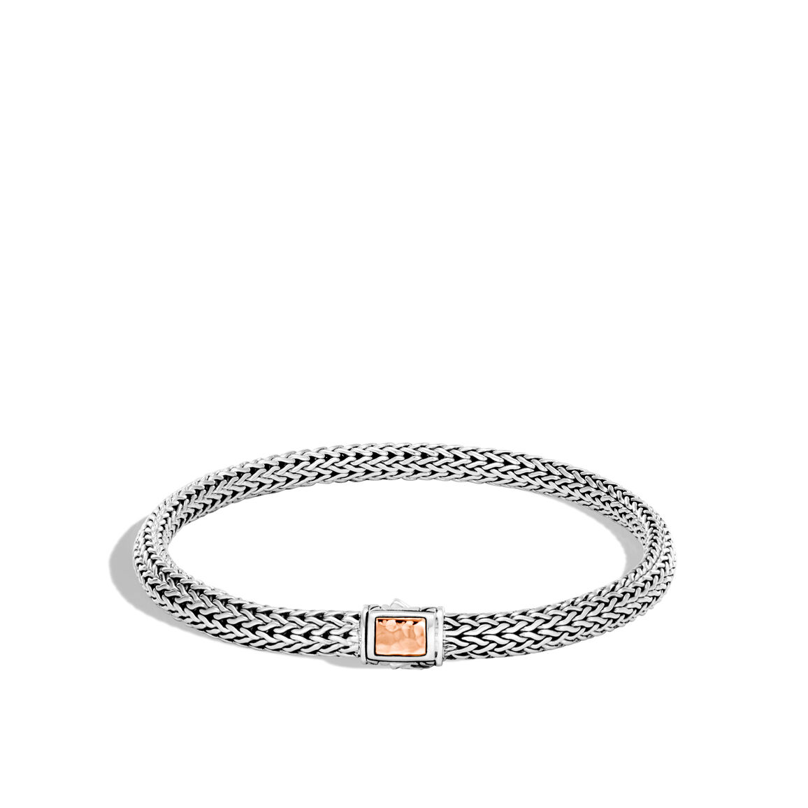 Classic Chain 5MM Hammered Clasp Bracelet, Silver, 18K Rose