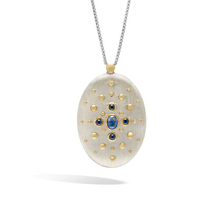 Dot Pendant Necklace in Brushed Silver, 18K Gold, Gemstone