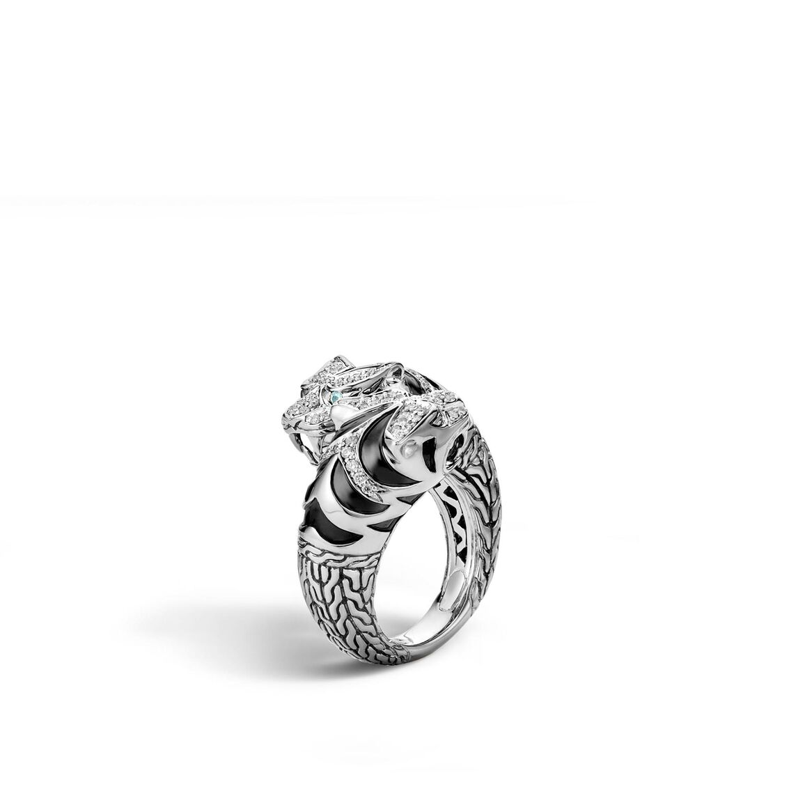 Legends Macan Double Head Bypass Ring, Silver with Diamonds