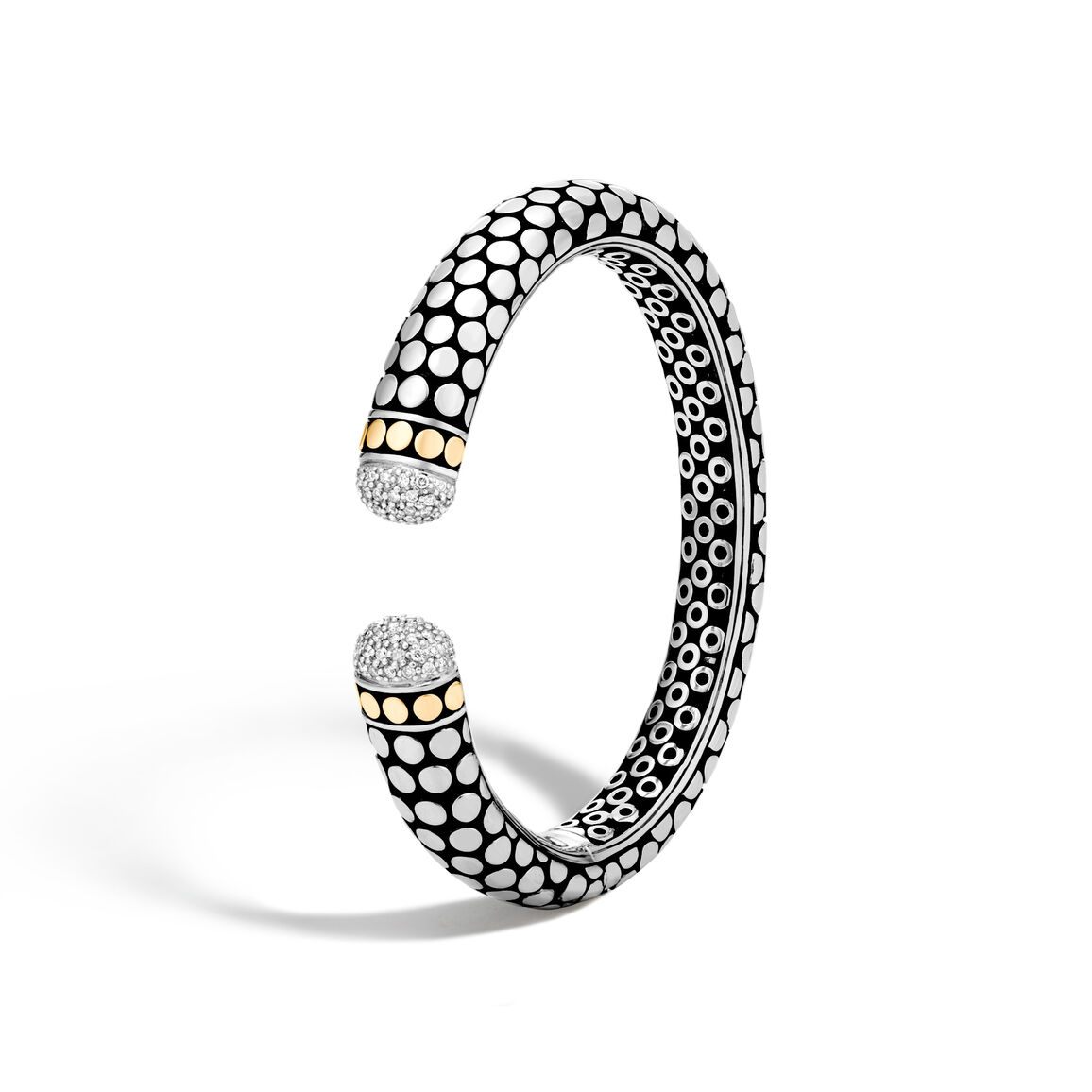Dot 11MM Kick Cuff in Silver and 18K Gold with Diamonds