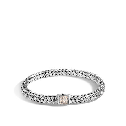 Classic Chain 6.5MM Bracelet in Silver with Diamonds