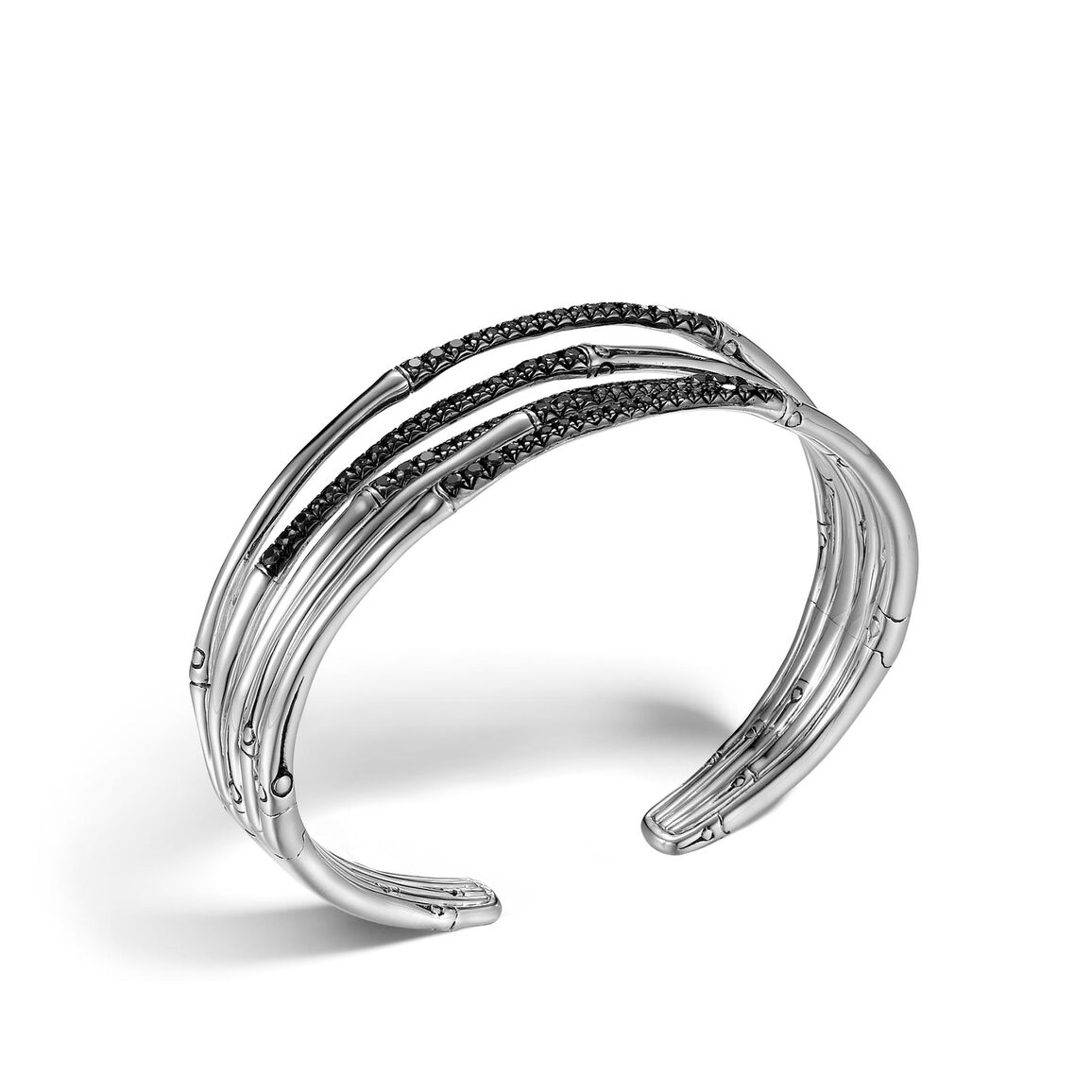Bamboo 19MM Cuff in Silver with Gemstone