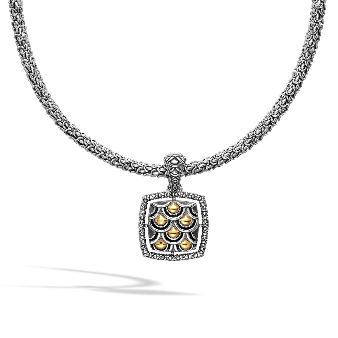 Legends Naga Pendant Necklace in Silver and 18K Gold