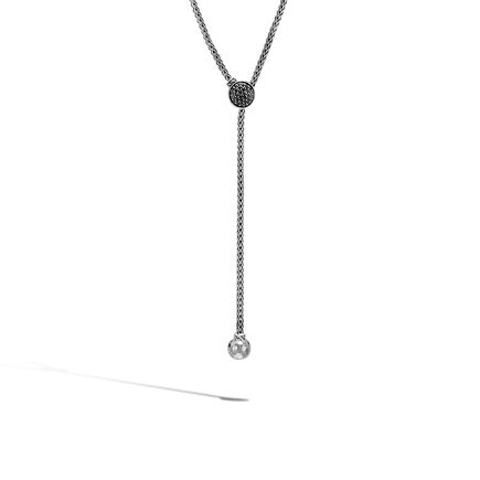 Classic Chain Drop Necklace in Silver with Gemstone