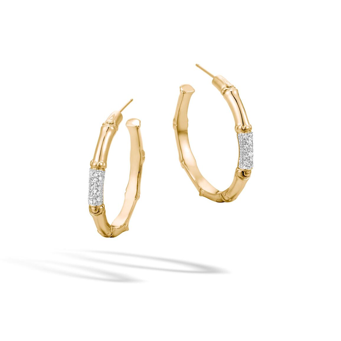 Bamboo Medium Hoop Earring in 18K Gold with Diamonds