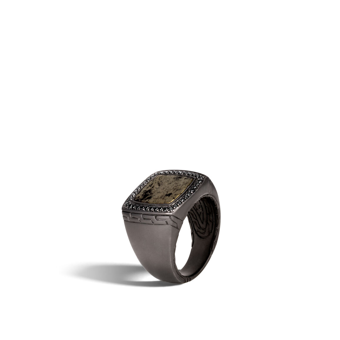 Classic Chain Signet Ring in Blackened Silver with Gemstone