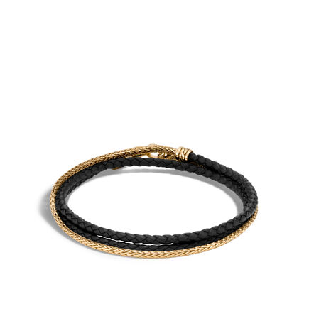 Chain Triple Wrap 2.5MM Bracelet, 18K Gold , Leather
