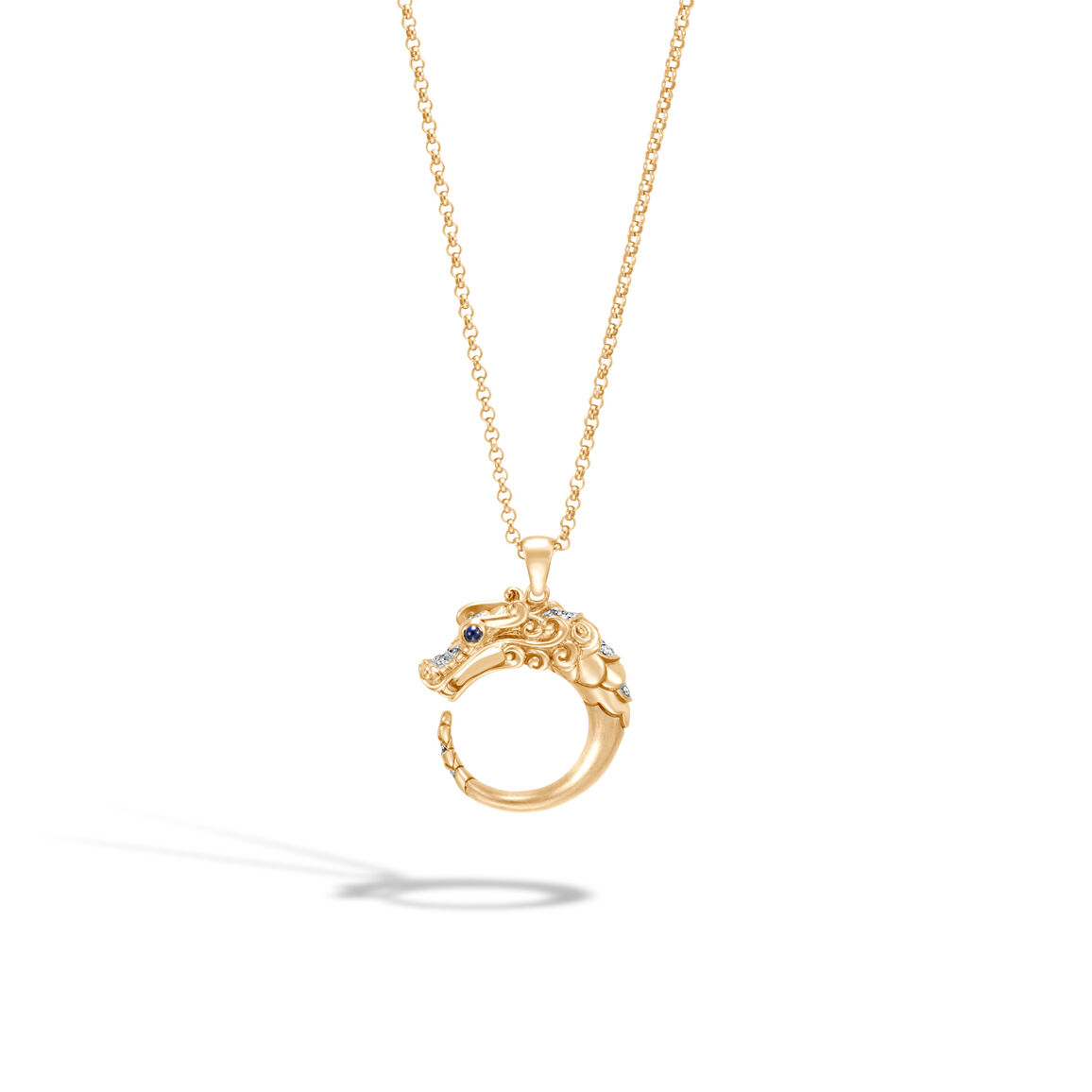 Legends Naga Pendant Necklace in Brushed 18K Gold, Diamonds