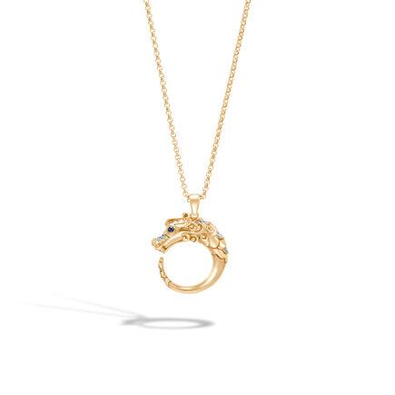 Legends Naga Pendant Necklace in Brushed 18K Gold, Diamonds