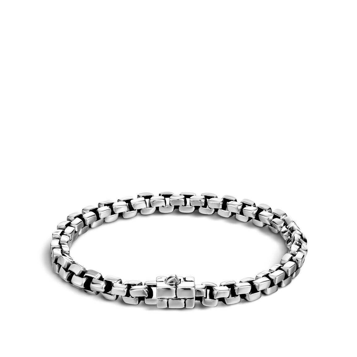Classic Chain Square Link Bracelet in Silver
