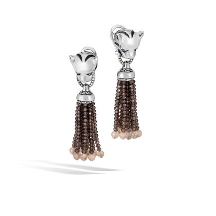Legends Macan Drop Earring in Silver with Gemstone, Diamonds