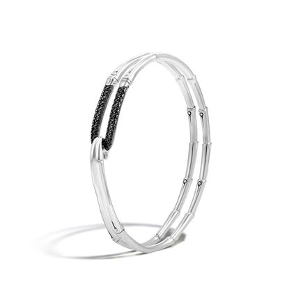 Bamboo Bangle in Silver with Gemstone