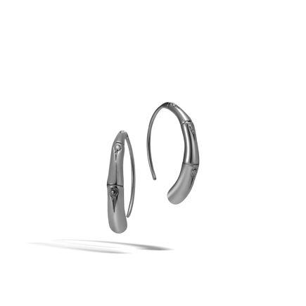 Bamboo Large Hoop Earring in Blackened Silver