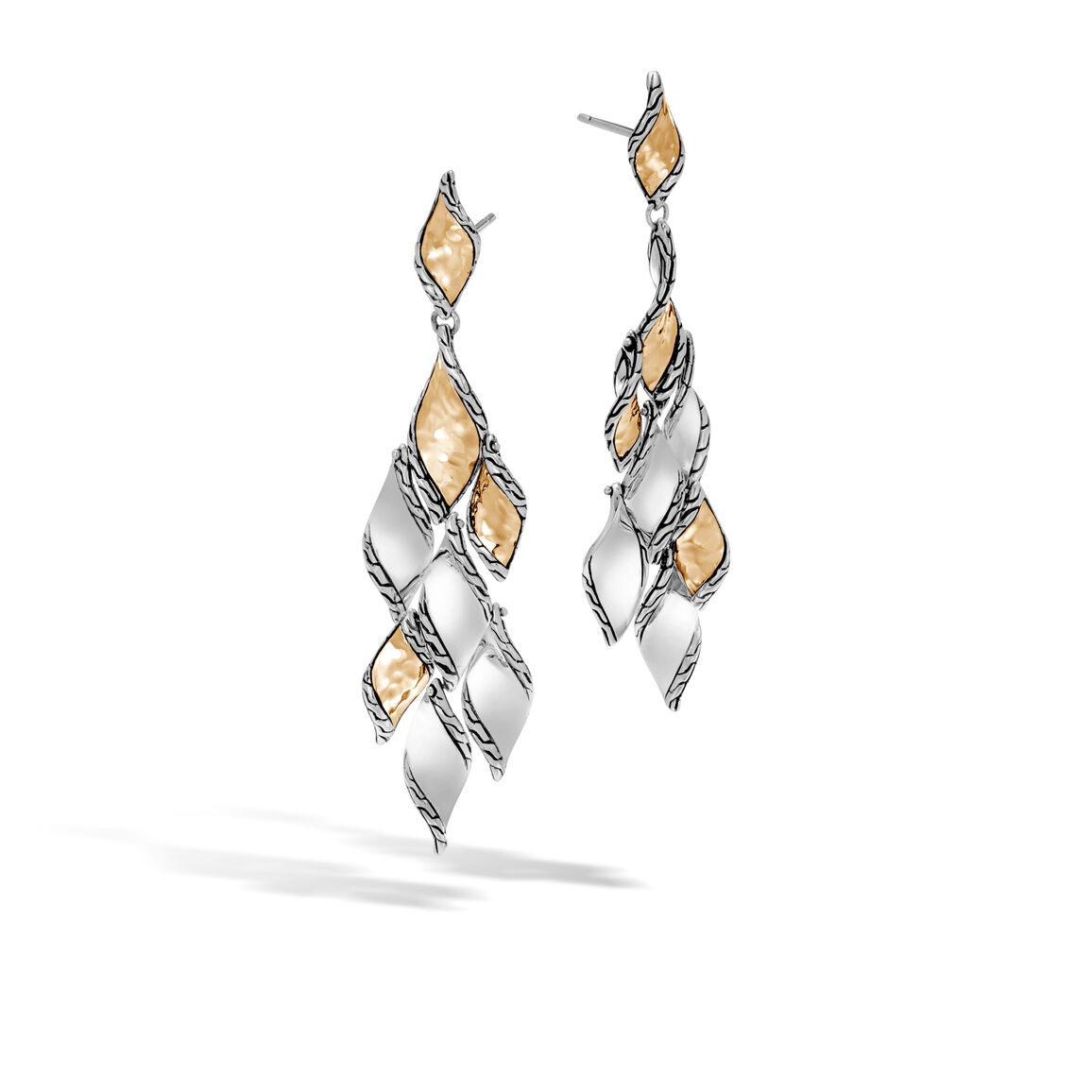 Classic Chain Wave Chandelier Earring, Silve, Hammered 18K
