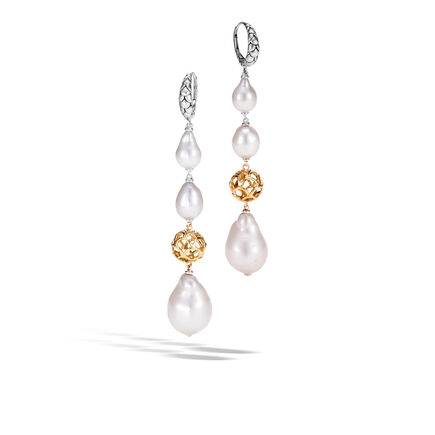 Legends Naga Drop Earring in Silver with 8-15MM Pearl