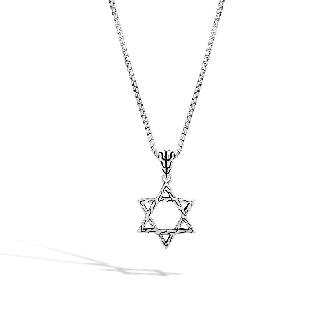 Classic Chain Star of David Pendant in Silver