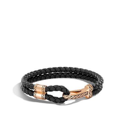Classic Chain Hook Clasp Bracelet in Bronze and Leather