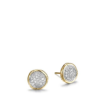Bamboo 10MM Stud Earring in 18K Gold with Diamonds