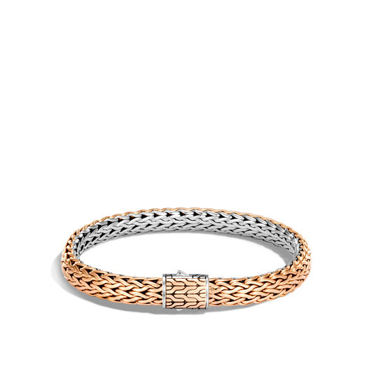 Classic Chain 7.5MM Reversible Bracelet in Silver and Bronze, , large