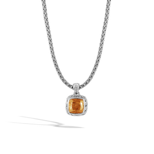 Classic Chain Magic Cut Pendant Necklace, Silver, 8MM Gem, Golden Sheen Sapphire, large