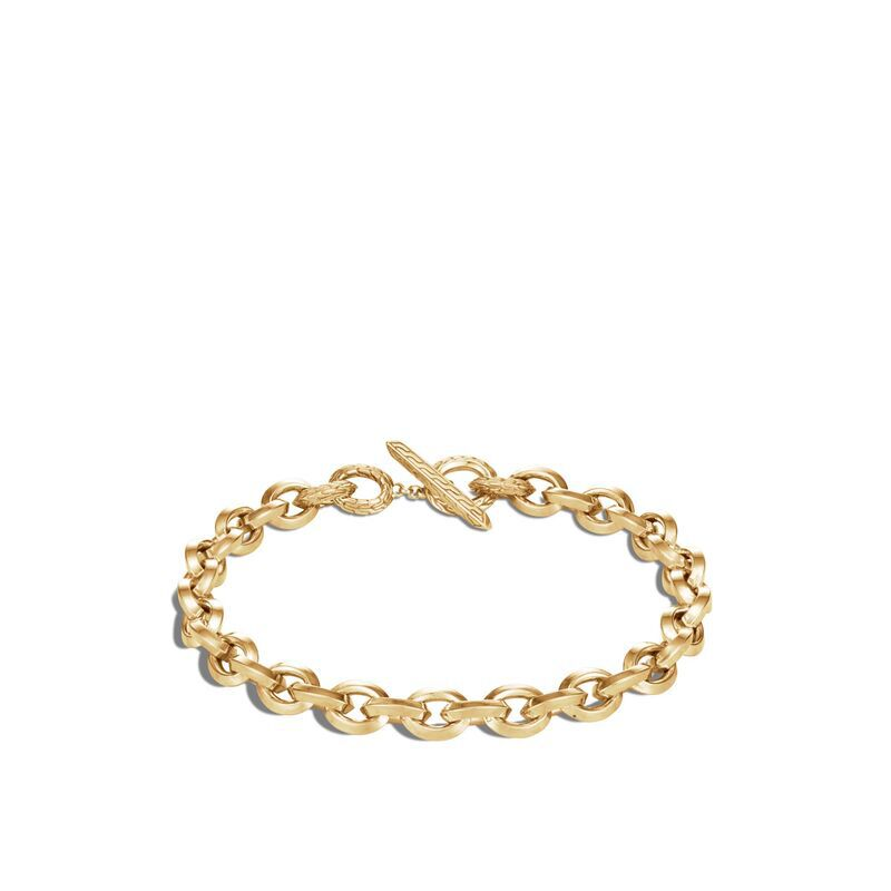 Classic Chain 7MM Knife Edge Link Bracelet in 18K Gold, , large