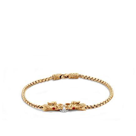 Legends Naga 2.5MM Station Bracelet in 18K Gold with Diamonds